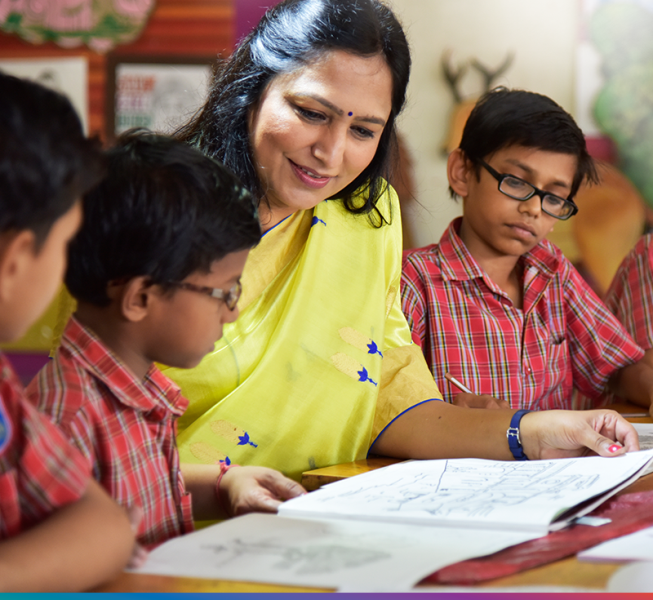 Priti Adani while conversing with the students