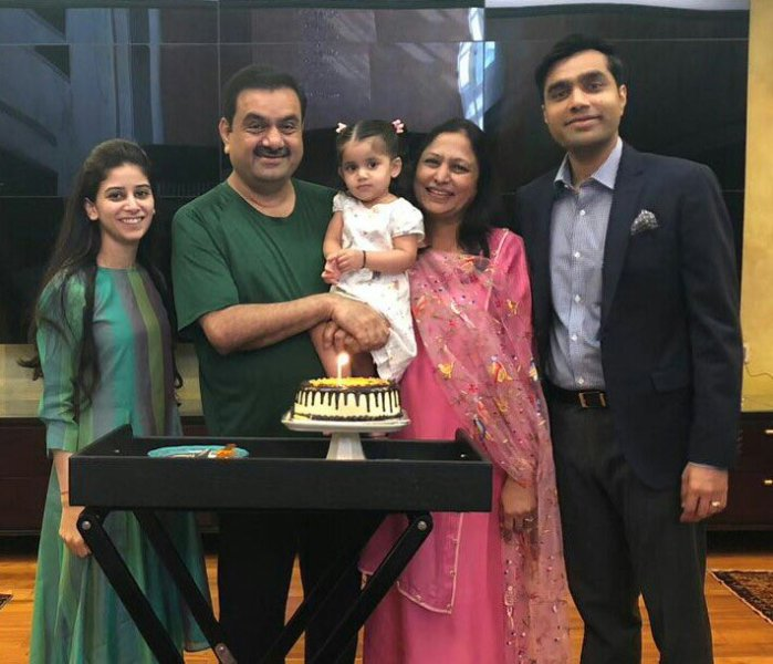 Priti Adani with her grand daughter, husband, son and daughter-in-law