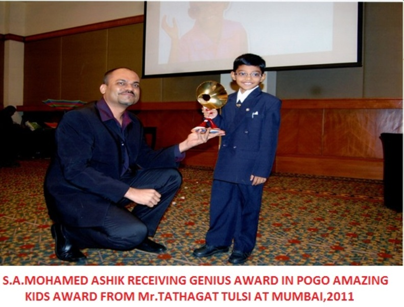 S A Mohamed Ashik while receiving the genius award in POGO amazing kids in 2011