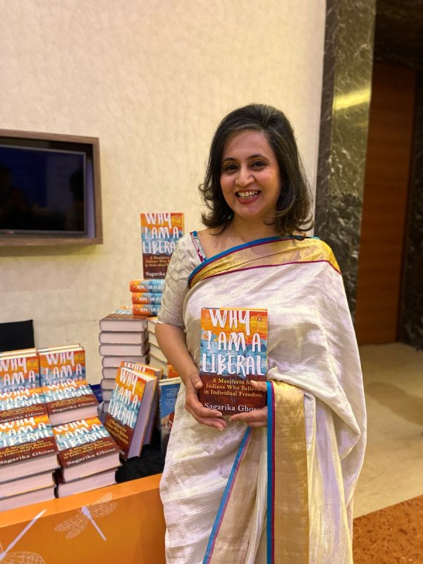 Sagarika Ghose with her book Why I am a Liberal