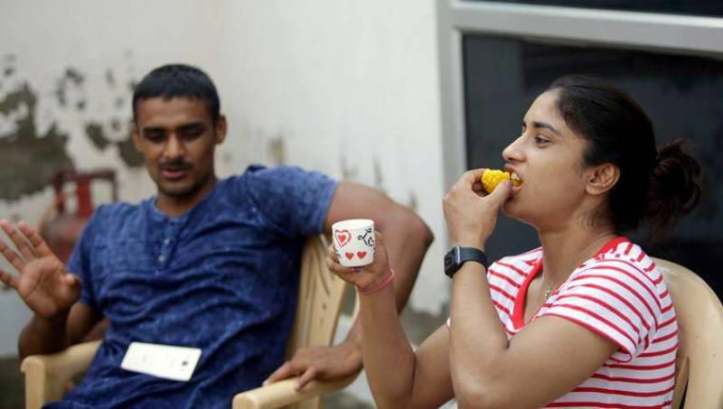 Vinesh Phogat with her Brother Harvinder after winning gold in Wrestling at Asian Games in 2018