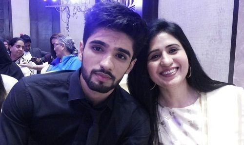 Zeeshan Khan with his mother