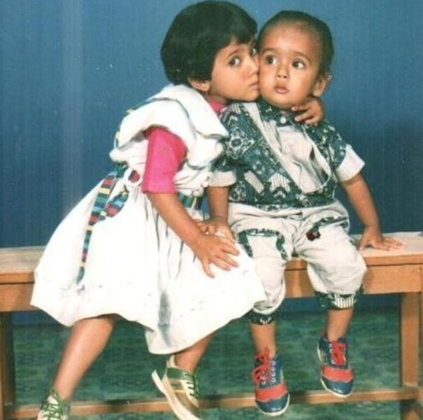A childhood picture of Keki with her brother