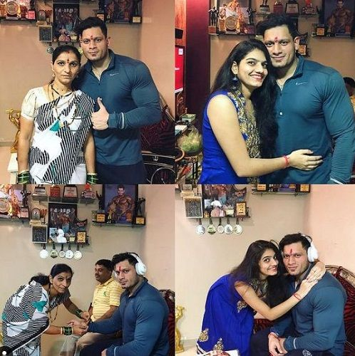 A collage of Manoj Patil with his sisters