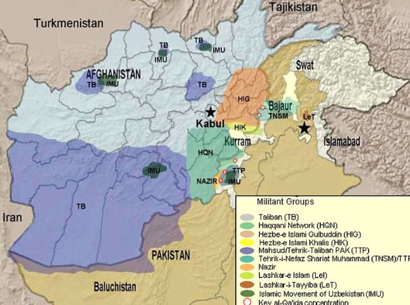 A map showing the spread of the Haqqani Network in Afghanistan
