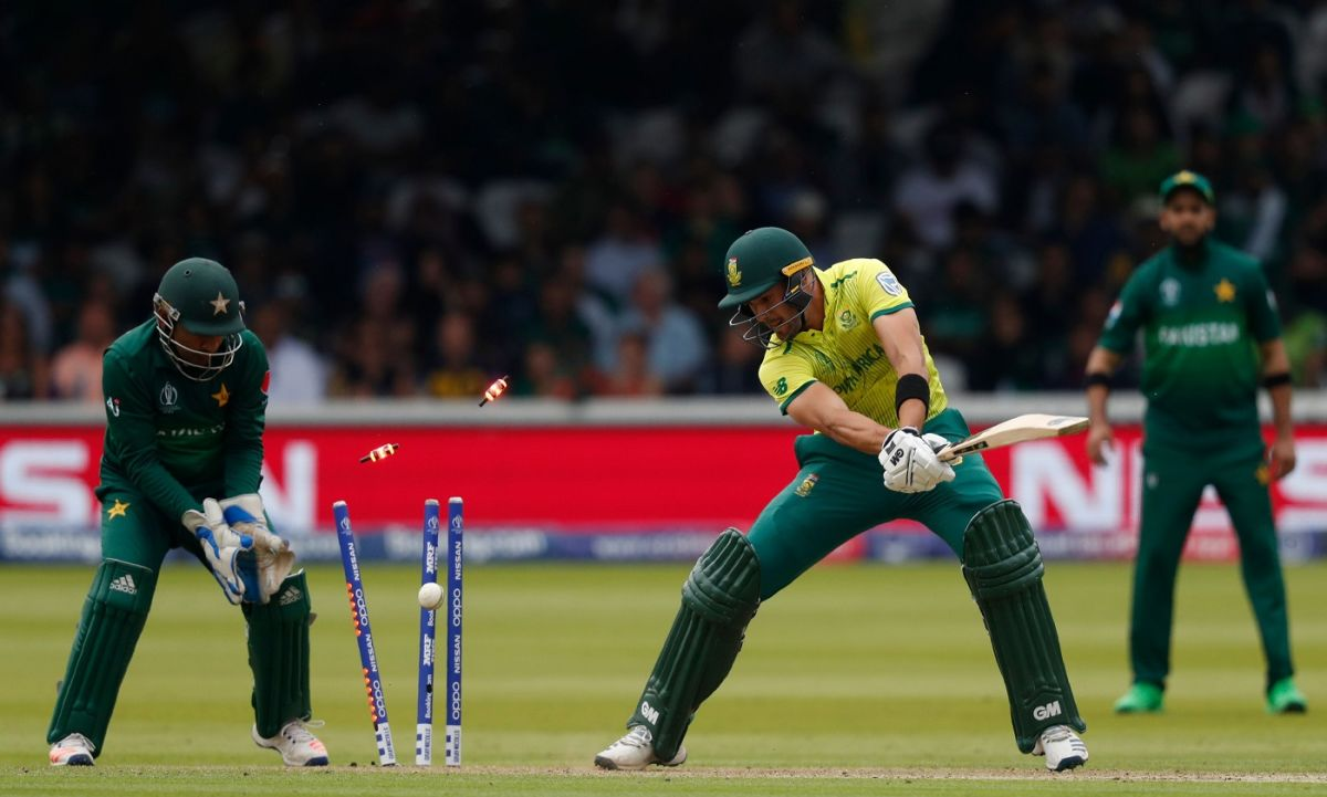 Aiden Markram getting bowled by Shadab Khan during the ICC World Cup 2019