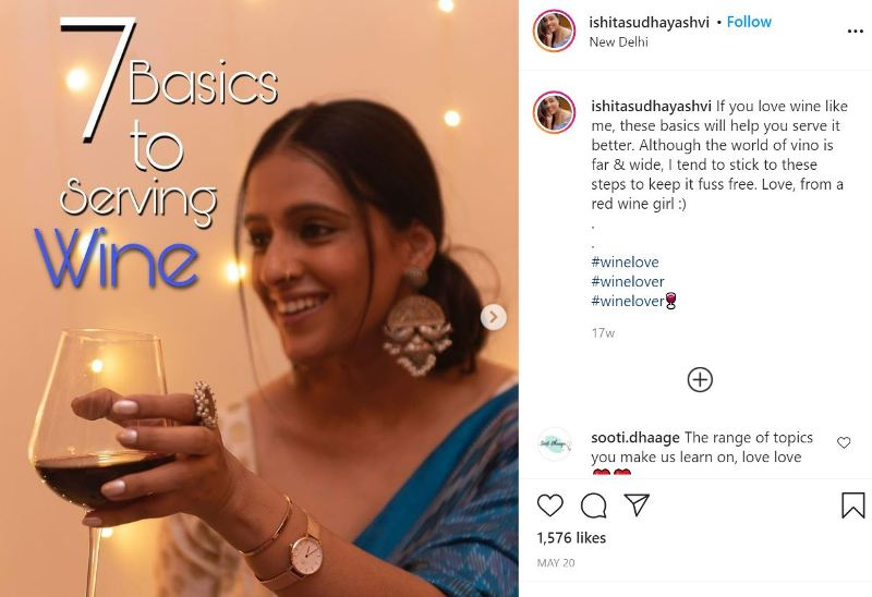 An Instagram post by Ishita with a caption that she likes to drink wine