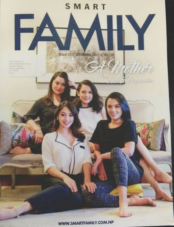 Anna Sharma with her mother and two sisters on the cover page of a magazine