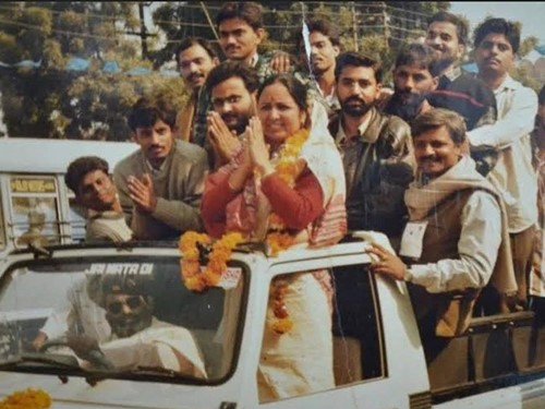 Baby Rani Maurya during a road show with her supporters after winning the mayor elections in Agra