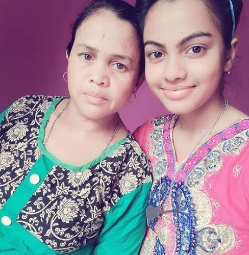 Beauty Khan with her mother