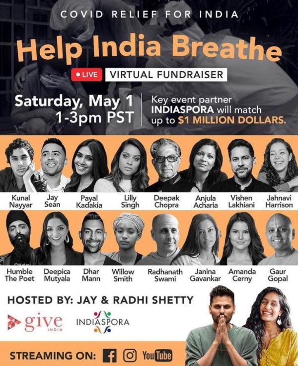 Deepica Mutyala on the poster of Help India Breathe donation campaign