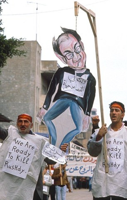 Demonstrators in Beirut issued a message to Rushdie during fatwa issued against him