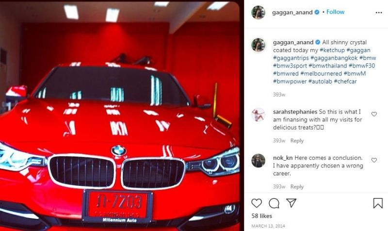 Gaggan Anand`s Instagram post about his car