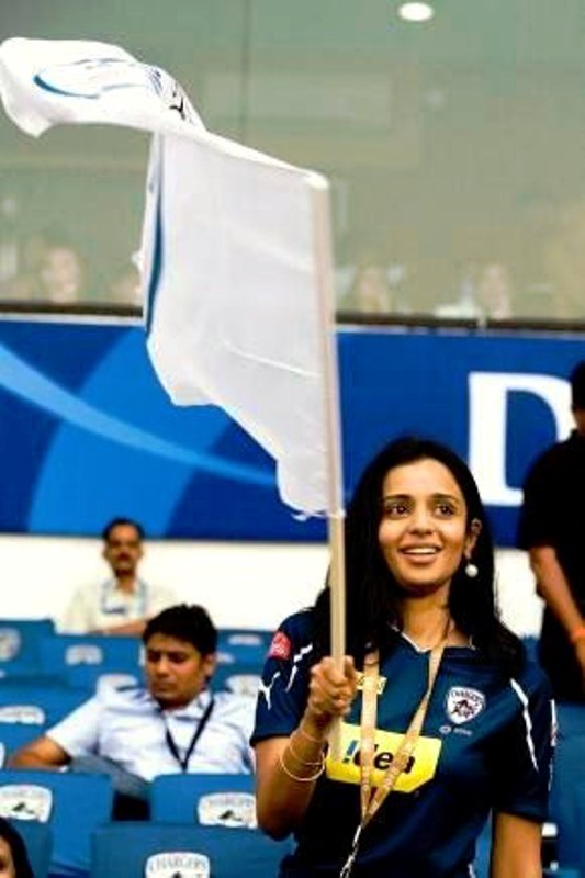 Gayatri Reddy cheering for Deccan Chargers in the IPL