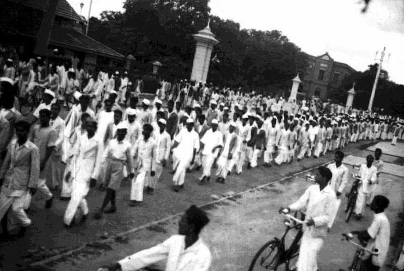 Indians protesting during the Quit India Movement