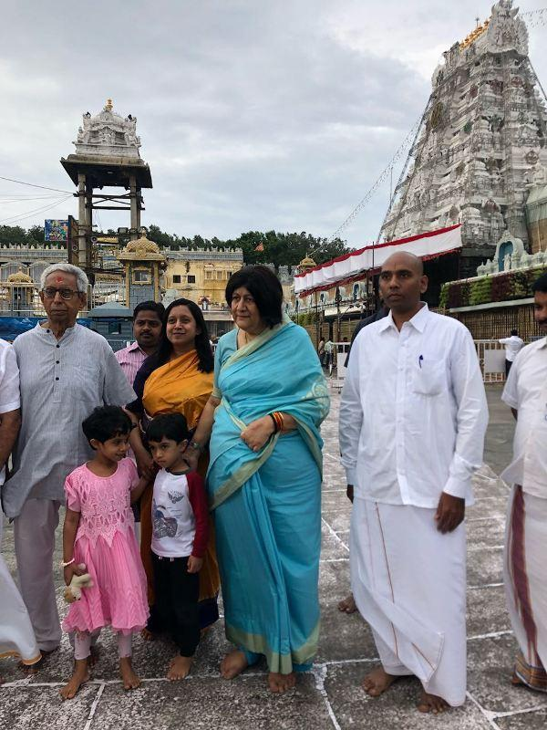 Indira Banerjee spotted at Tirumala hill shrine with her family