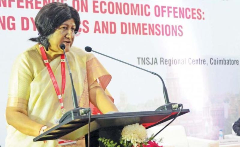 Indira Banerjee while speaking at Economic offences and Emerging dynamics and dimensions