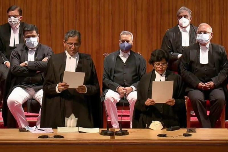 Justice Hima Kohli taking oath during the swearing-in ceremony at Supreme Court in New Delhi