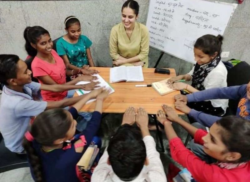 Koyal with the students of her NGO