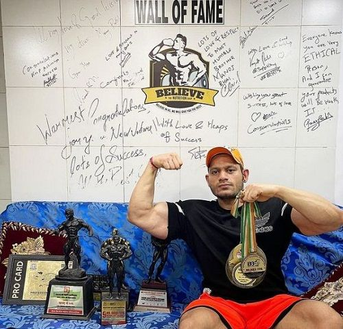 Manoj Patil with his medals and trophies