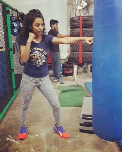 Meenal Shah during her boxing training