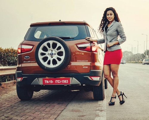 Meenal Shah with her Ford EcoSport
