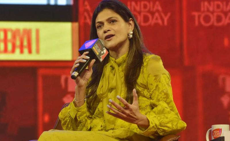 Neerja Birla while speaking on a public platform of an Indian News Channel
