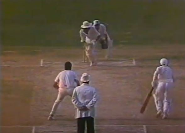 Ramiz Raja playing a shot on the final day of the test match against England in 1984