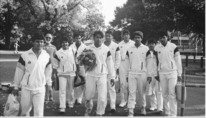 Ramiz Raja walking to the MCG stadium for playing the 1992 ICC World Cup Finals against England