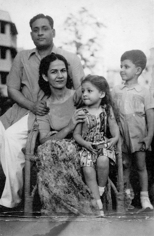 Salman Rushdie (extreme right) with his parents