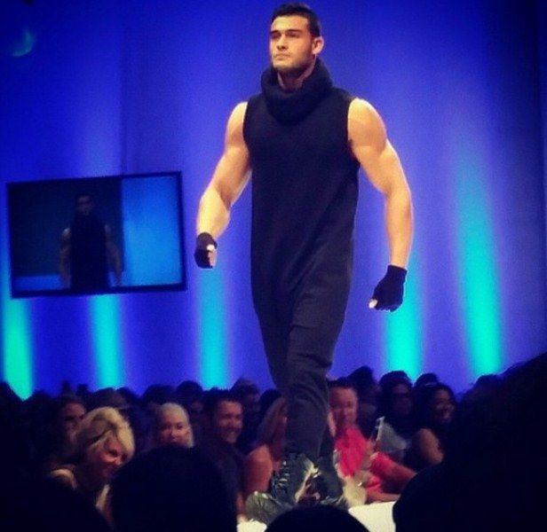 Sam Asghari walking the ramp for Michael Costello in Palm Springs