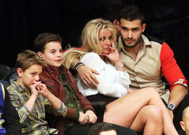 Sam Asghari with Britney Spears and her sons