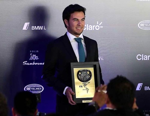 Sergio Perez receiving the Best Latin American driver of 2016 award by FIA