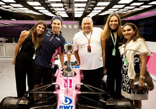 Sergio Perez with his wife (left), father, sister, and mother