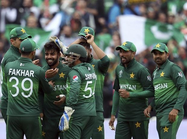 Shadab Khan celebrates after dismissing New Zealand captain Kane Williamson during the ICC World Cup 2019