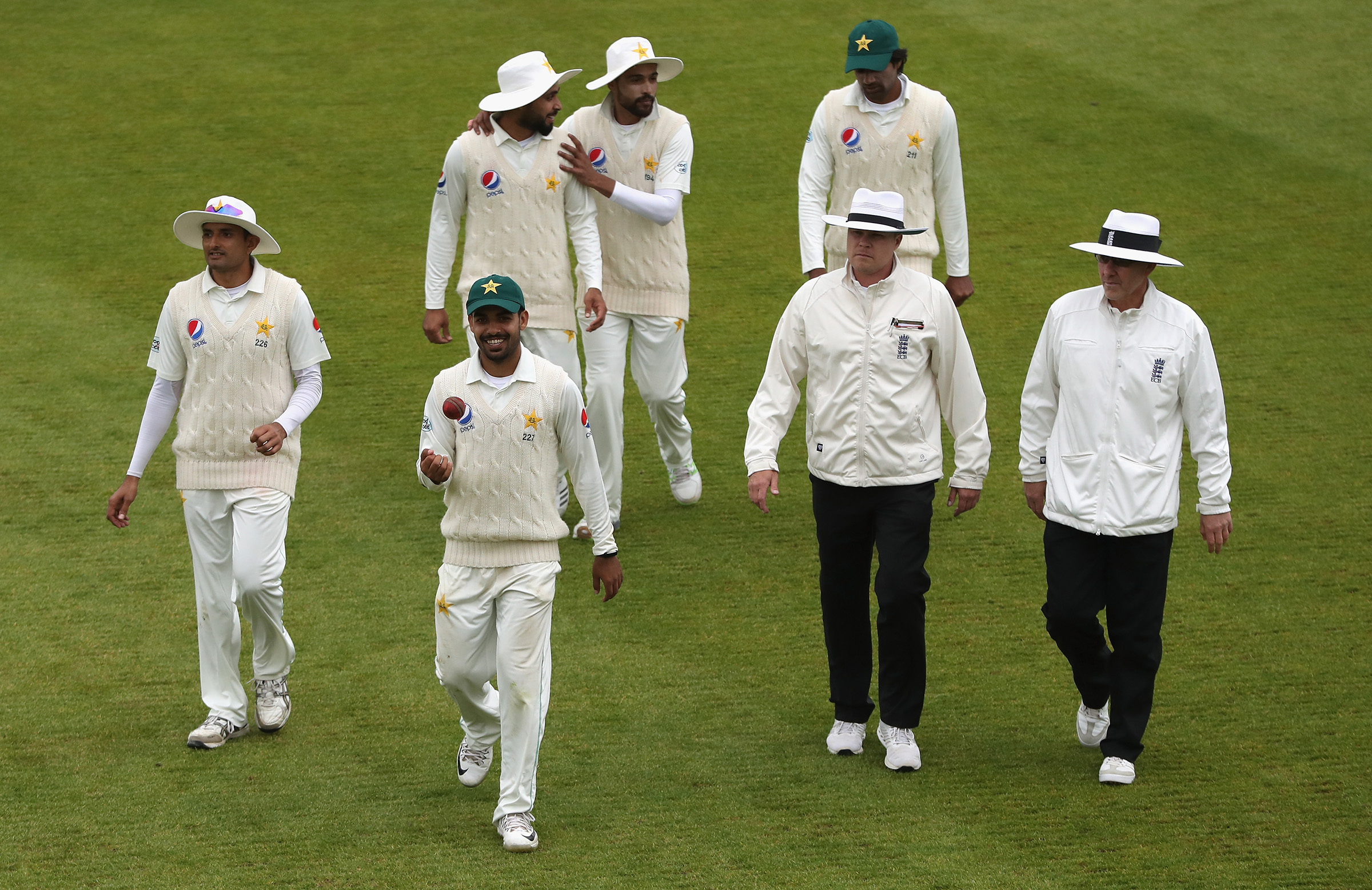 Shadab Khan walking out after the career-best bowling spell of 10 for 157 runs vs Northamptonshire