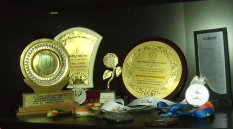 Sharad Kumar's mementos he won in his school competitions