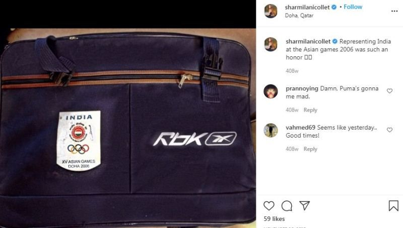 Sharmila Nicollet`s Instagram post about representing India at Asian Games