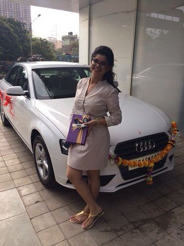 Sneha Wagh with her Audi car