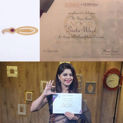 Sneha Wagh with her 'The Noor Award'