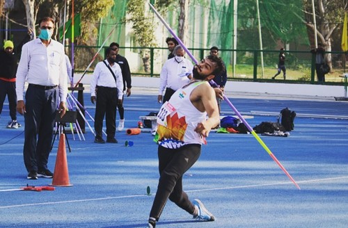 Sumit Antil during the qualifying round for Paralympics