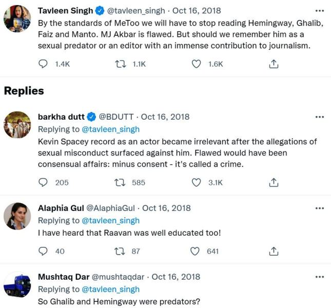 Tavleen Singh criticised for her tweet supporting MJ Akbar