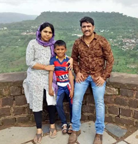 Trupti Desai with her husband and son