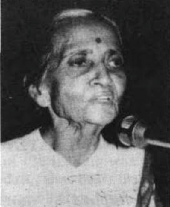Usha Mehta in 1996 while addressing a conference