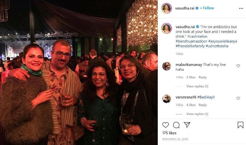 Vasudha Rai with a glass of alcohol in her hand and an Instagram caption by her that she drinks alcohol