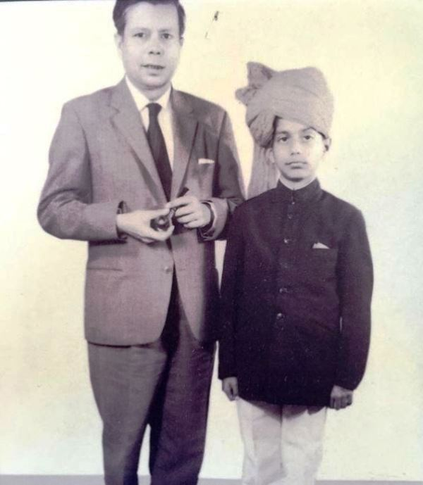 Young Vir Sanghvi with his father