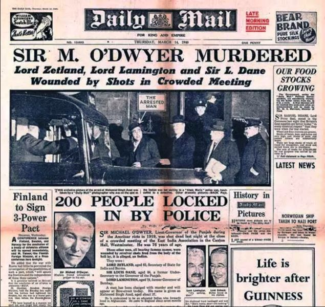 A newspaper reporting shooting at Caxton Hall by Udham Singh or Mohamed Singh Azad