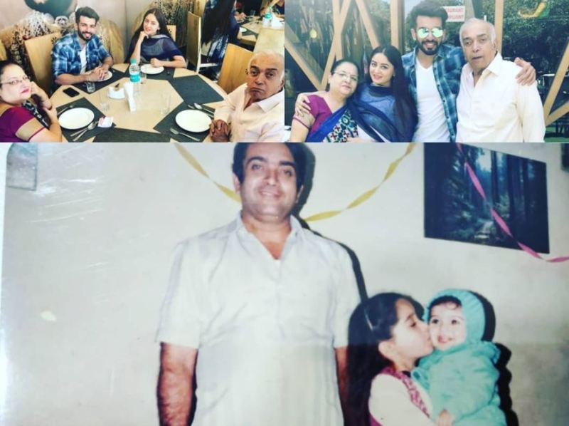 A picture collage of family members (father, mother, and wife) of Jay Bhanushali