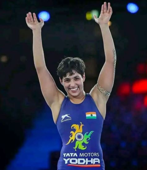 Anshu Malik after bagging the place in the finals of the World Championships