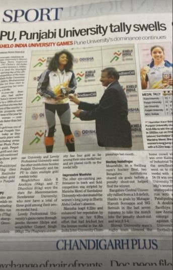 Harmilan Kaur in the Newspaper after winning the 2020 Asian Games